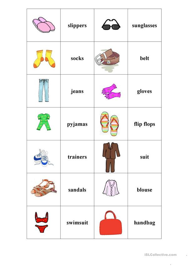 Memory Exercises for Adults Printable Clothes Memory Game English Esl Worksheets for Distance