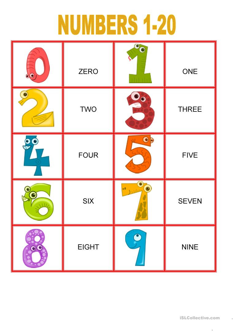 Memory Exercises for Adults Printable Memory Games Numbers From 1 20 English Esl Worksheets