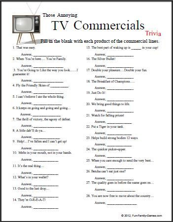 Memory Exercises for Adults Printable Those Annoying Tv Mercials