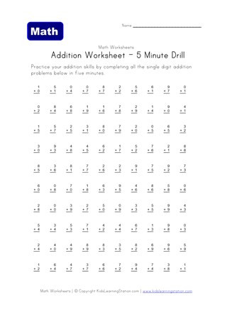 Minute Math Worksheets 1st Grade Five Minute Addition Drill Worksheet