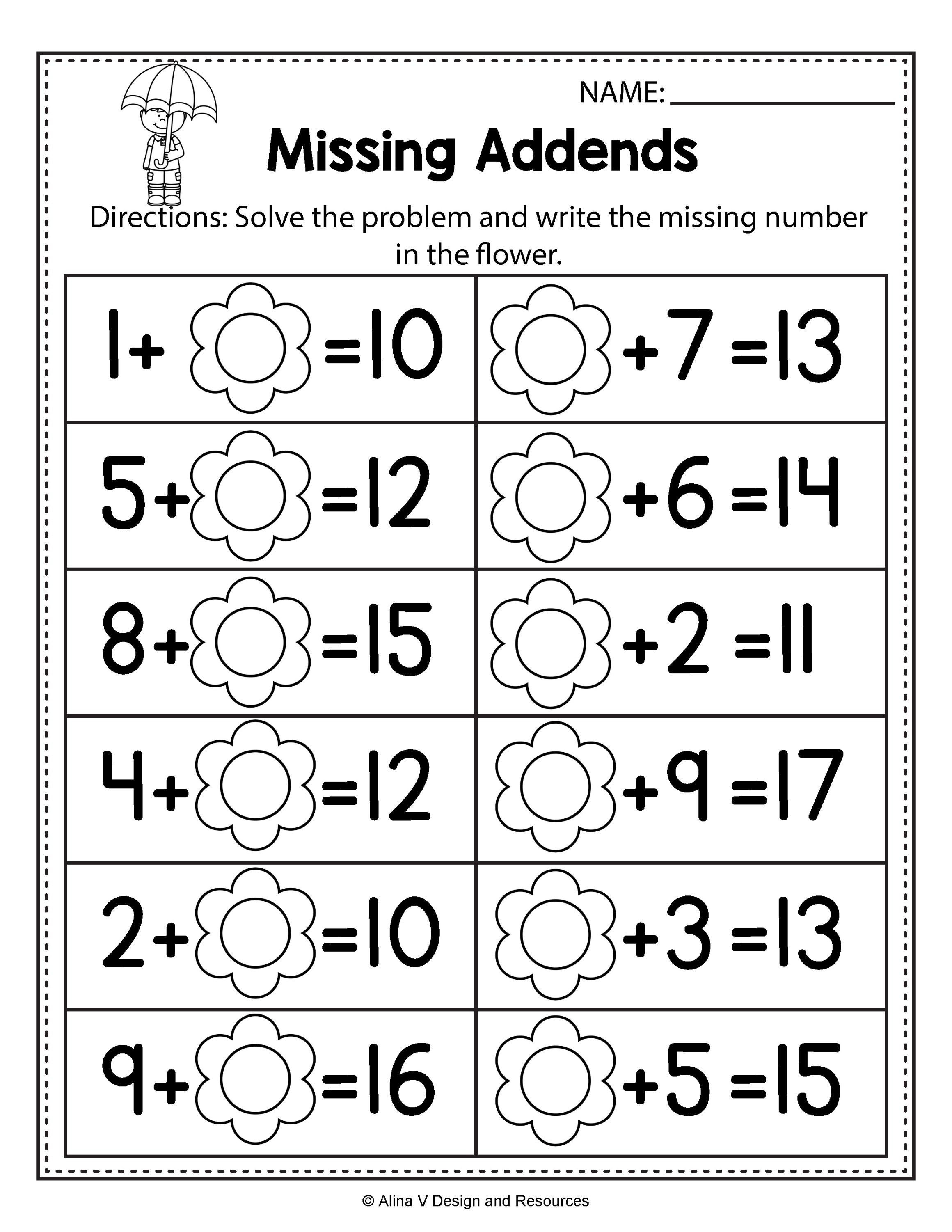 Missing Addend Worksheets First Grade Free Spring Math Worksheets for Kindergarten No Prep