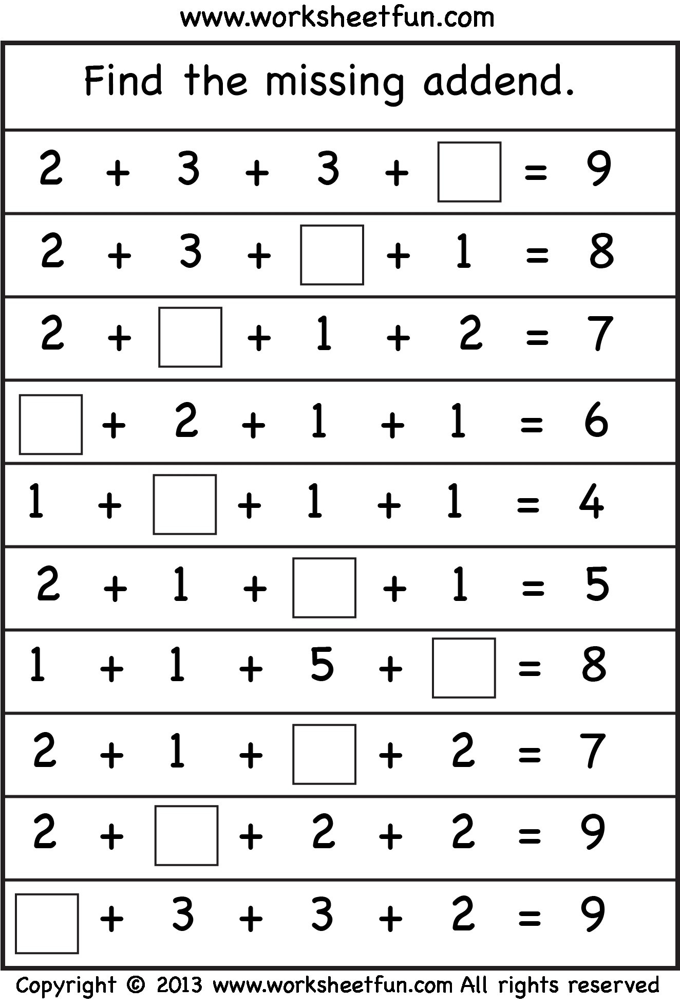 Missing Addend Worksheets First Grade Math Missing Addend Worksheet