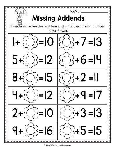 Missing Addends Worksheets First Grade Free Spring Math Worksheets for Kindergarten No Prep