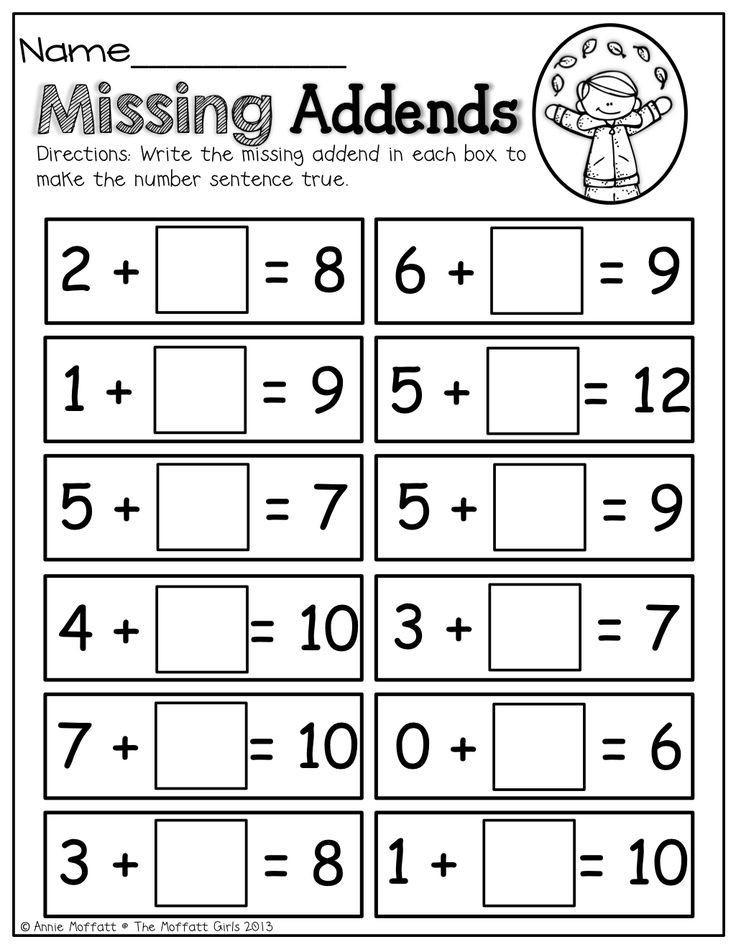 Missing Addends Worksheets First Grade Missing Addends 2nd Grade
