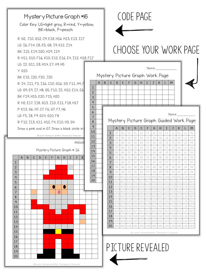 Mystery Graph Pictures Printable Free Santa Mystery Picture Graph Mrs Thompson S Treasures