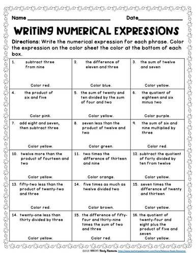 Numerical Expressions Worksheets 6th Grade Numerical Expressions 5th Grade Color by Number Fall theme