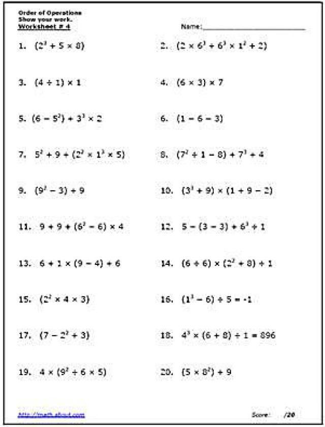 Numerical Expressions Worksheets 6th Grade Practice the order Of Operations with these Free Math