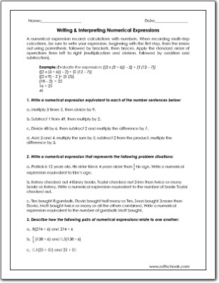Numerical Expressions Worksheets 6th Grade Write A Numerical Expression