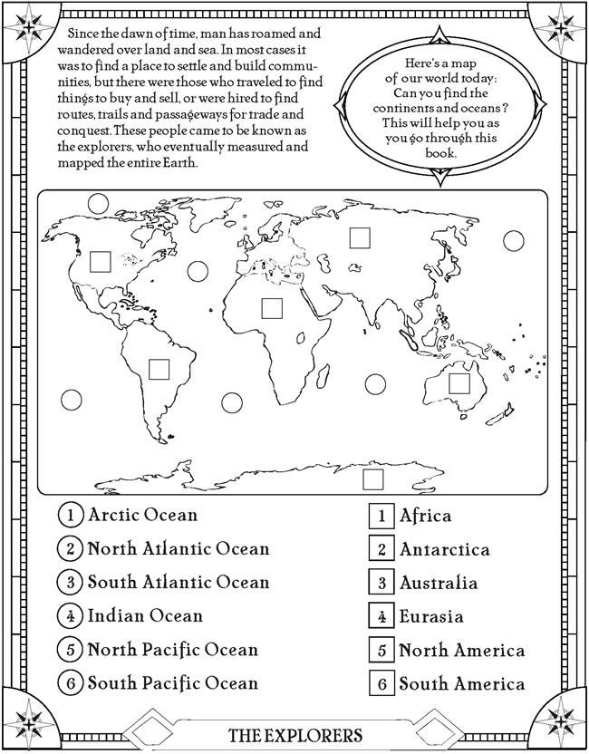 Ocean Worksheets for 2nd Grade Find the Oceans and Continents Page