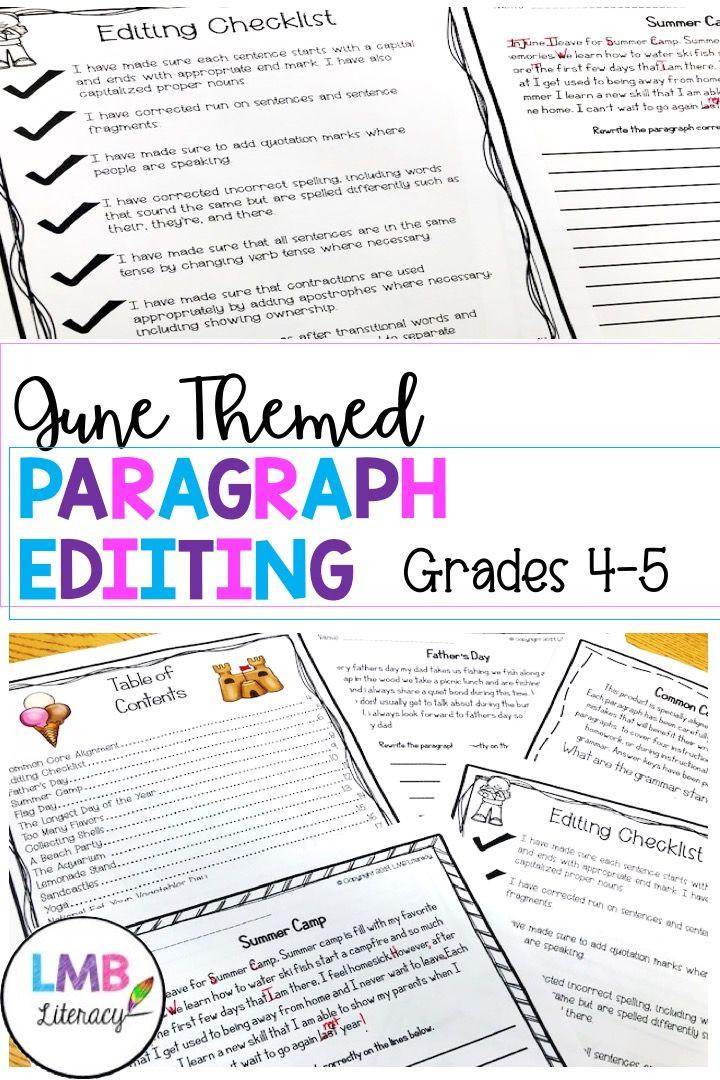 Paragraph Editing Worksheets 4th Grade June Writing Paragraph Editing Worksheets for Grades 4 5