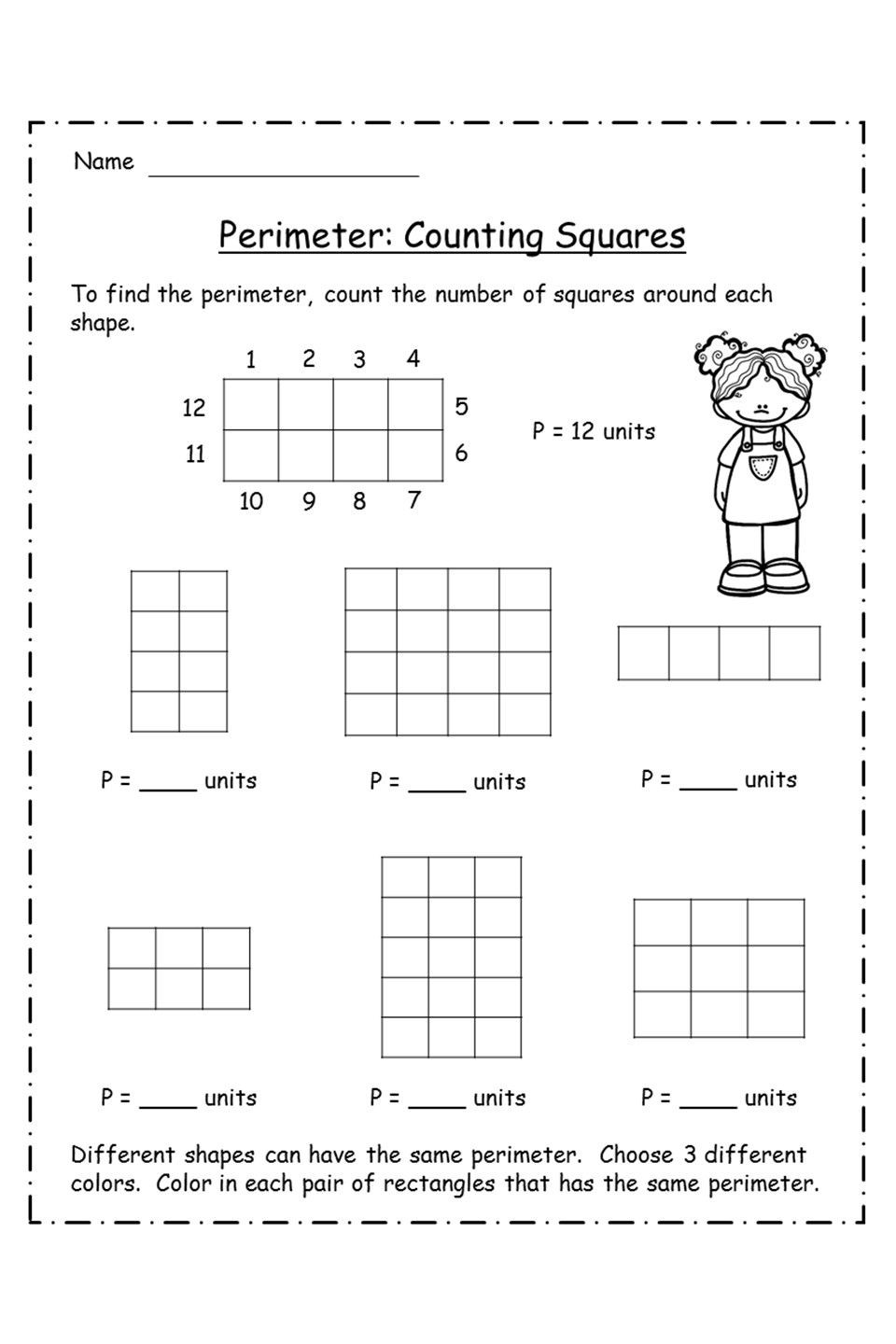 Perimeter Worksheets 3rd Grade Perimeter Unit Activities Game Project and assessment In