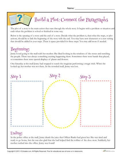 Plot Worksheets 2nd Grade Build A Plot Connect the Paragraphs Worksheet