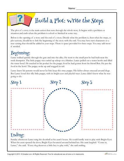 Plot Worksheets 2nd Grade Build A Plot Write the Steps Worksheet