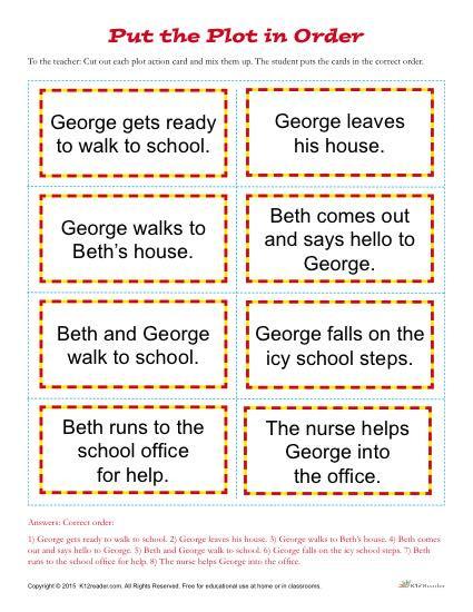 Plot Worksheets 2nd Grade Put the Plot In order Worksheet