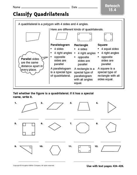 Polygon Worksheets 3rd Grade Classify Quadrilaterals Reteach 15 4 Worksheet for 3rd 4th