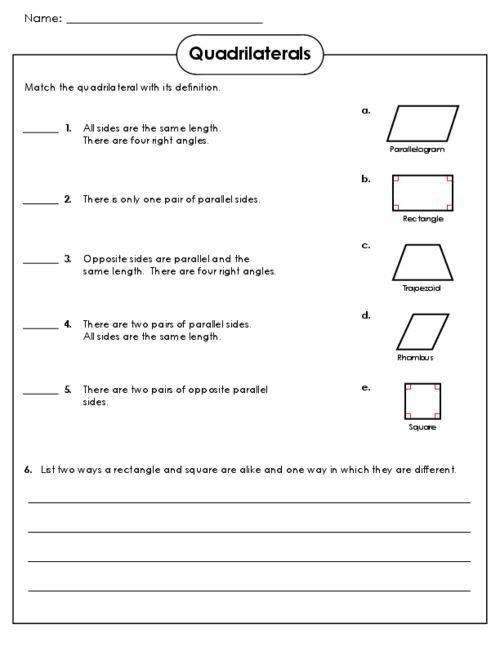 Polygon Worksheets 3rd Grade Image Result for Quadrilateral Worksheet for 3rd Grade