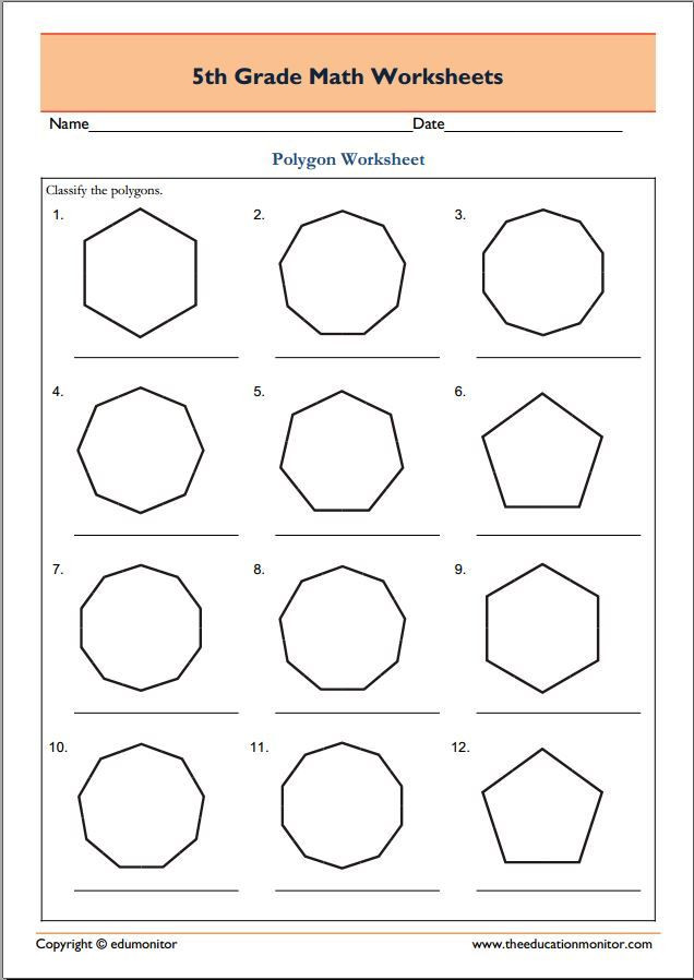 Polygon Worksheets 4th Grade 5th Grade Geometry Math Worksheets Polygons