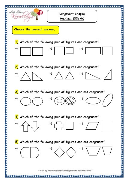 Polygon Worksheets 4th Grade Grade 3 Maths Worksheets 14 5 Geometry Congruent Shapes