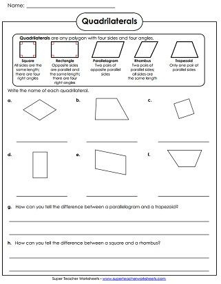 Polygon Worksheets 4th Grade Quadrilaterals Worksheet