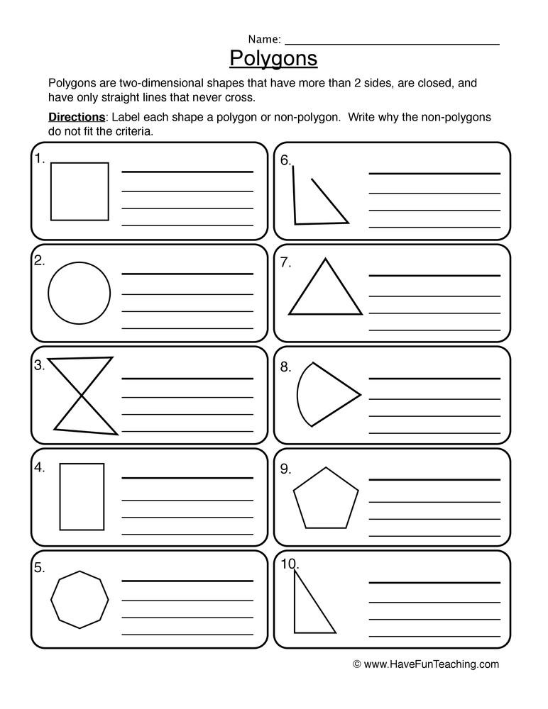 Polygon Worksheets for 2nd Grade Polygons Worksheet