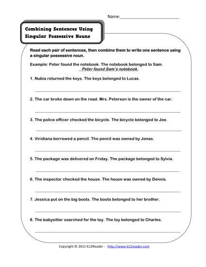 Possessive Pronouns Worksheet 2nd Grade Singular Possessive Nouns
