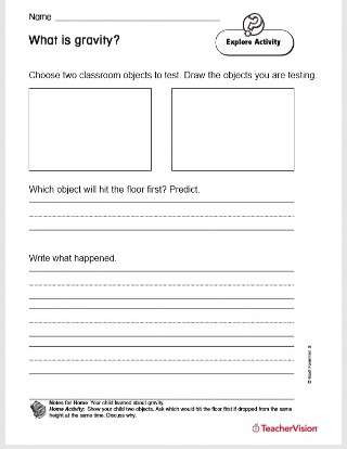 Prediction Worksheets 2nd Grade What is Gravity Printable 2nd Grade Teachervision