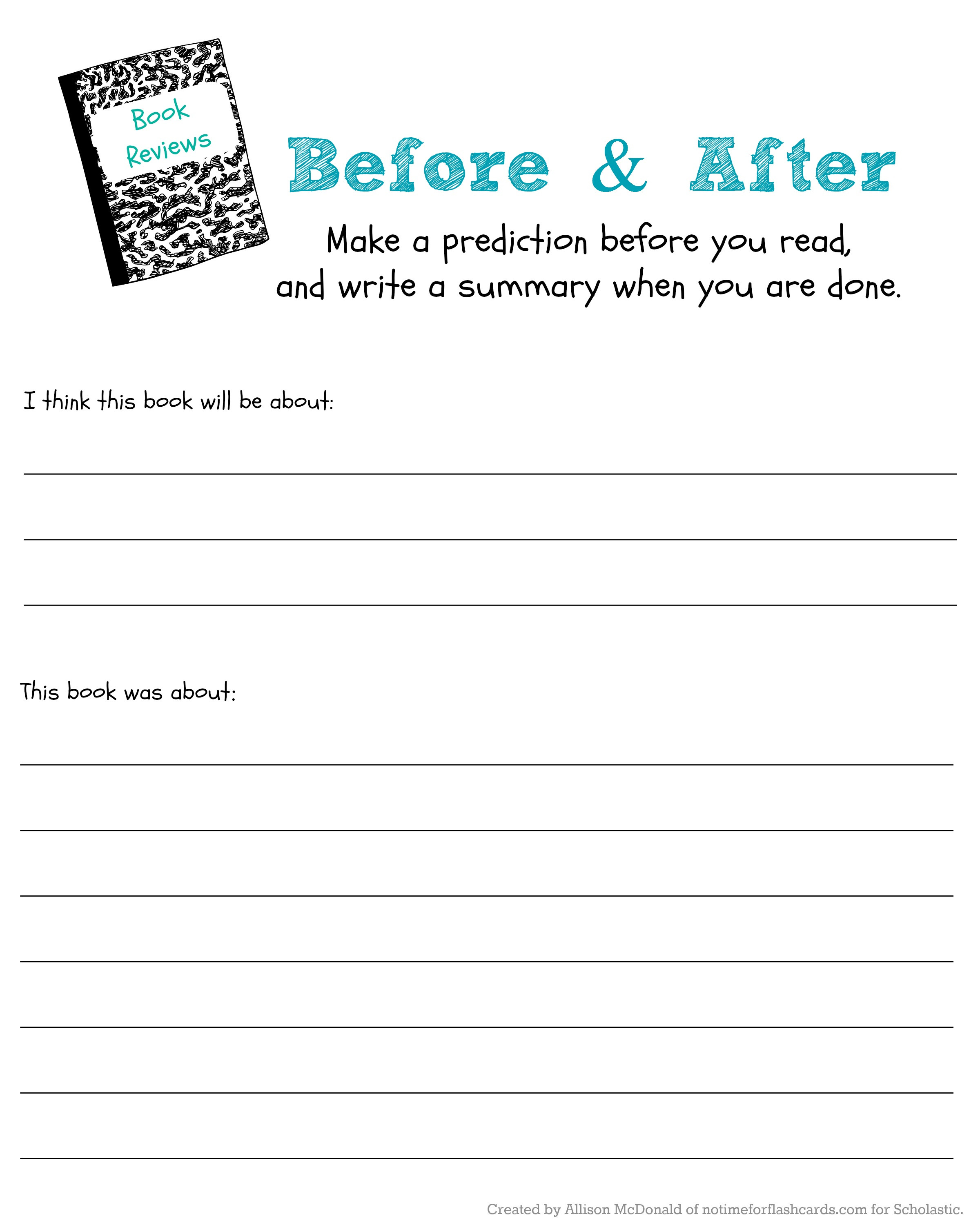 Prediction Worksheets for 2nd Grade Judge A Book by Its Cover to Predict & Read