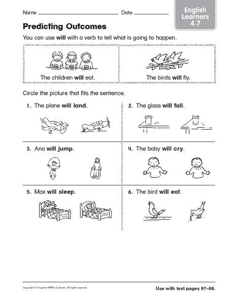 Prediction Worksheets for 2nd Grade Predicting Out Es Esl Vocabulary Worksheet for 1st 2nd