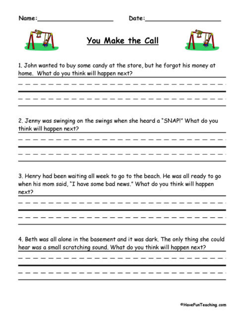 Prediction Worksheets for 2nd Grade Predictions Worksheets • Have Fun Teaching