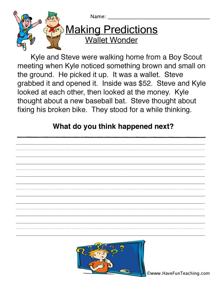 Prediction Worksheets for 2nd Grade Wallet Wonder Predictions Worksheet