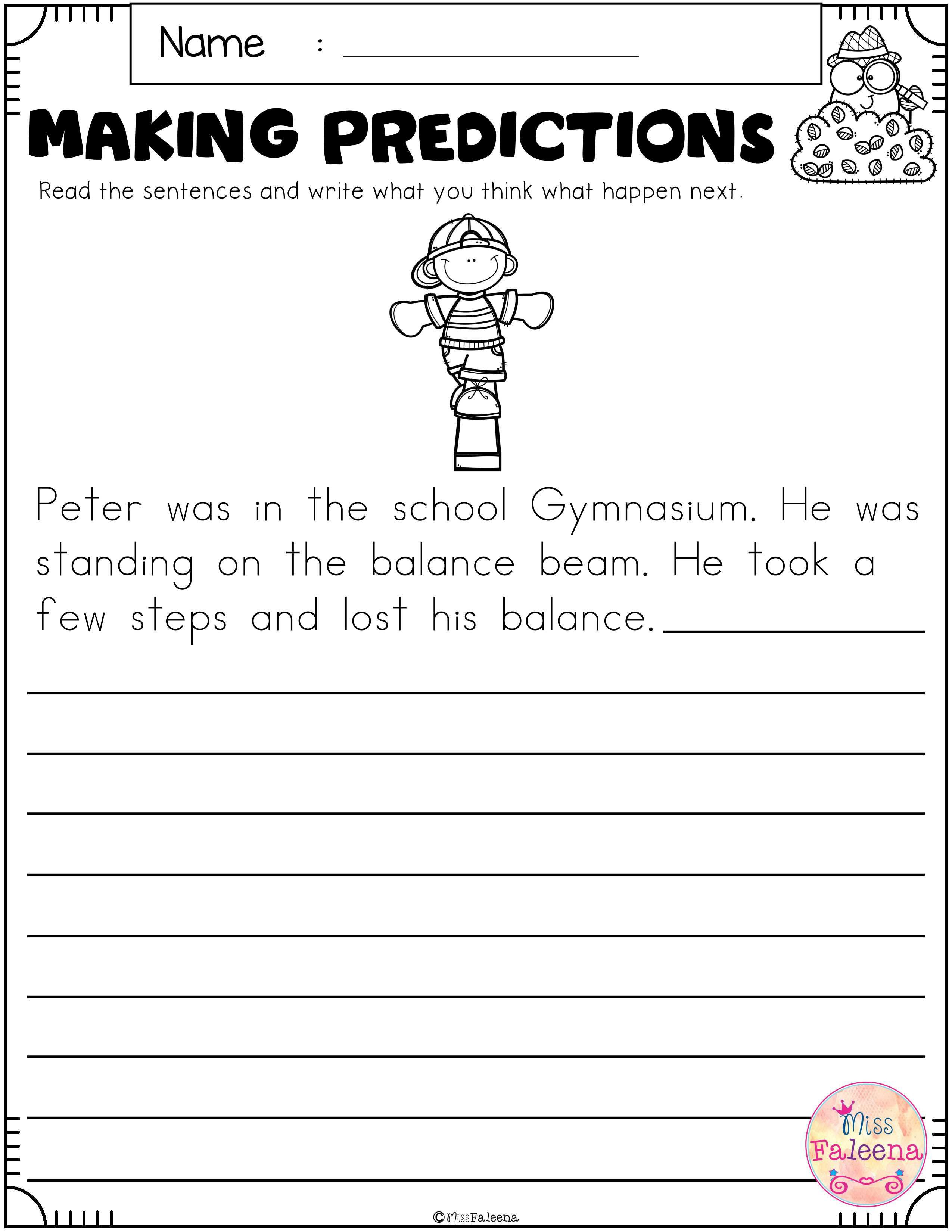 Prediction Worksheets for 3rd Grade Free Making Predictions