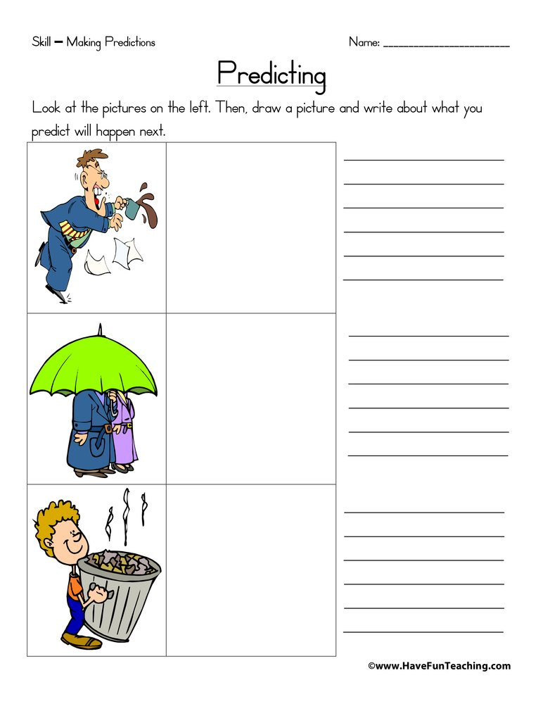 Predictions Worksheets 1st Grade Predicting Worksheet
