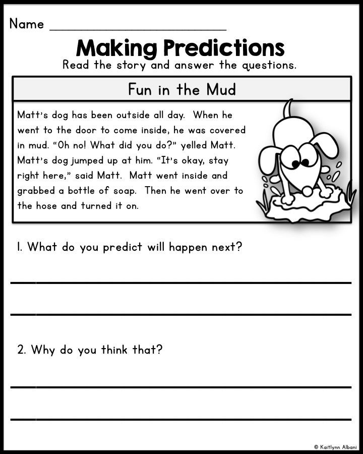 Predictions Worksheets 1st Grade Reading Prehension Making Predictions Passages