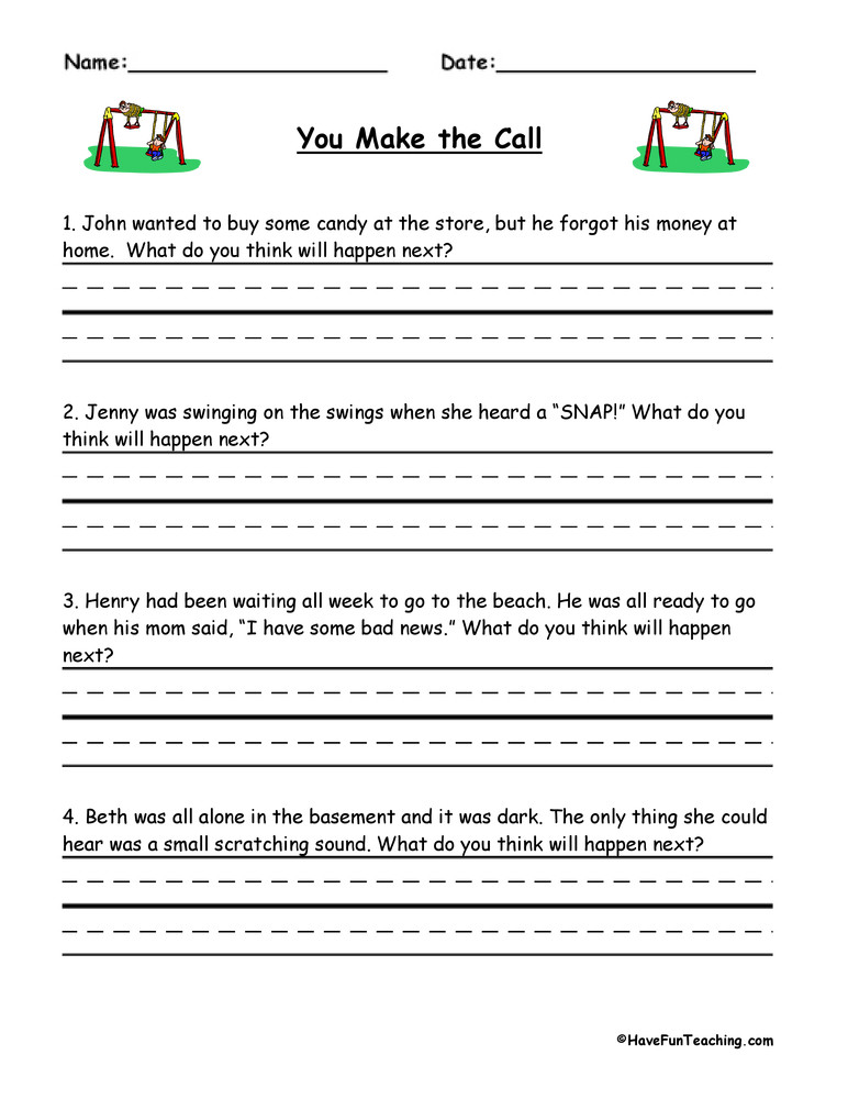 Predictions Worksheets 1st Grade You Make the Call Inferences Worksheet
