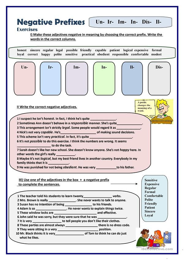 Prefix Worksheet 4th Grade Negative Prefixes Exercises English Esl Worksheets for