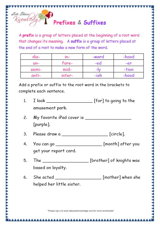 Prefix Worksheets 4th Grade Grade 3 Grammar topic 21 Prefix and Suffix Worksheets