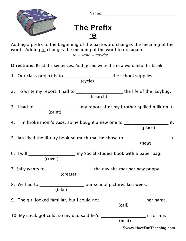 Prefix Worksheets 4th Grade Prefix Re Worksheet
