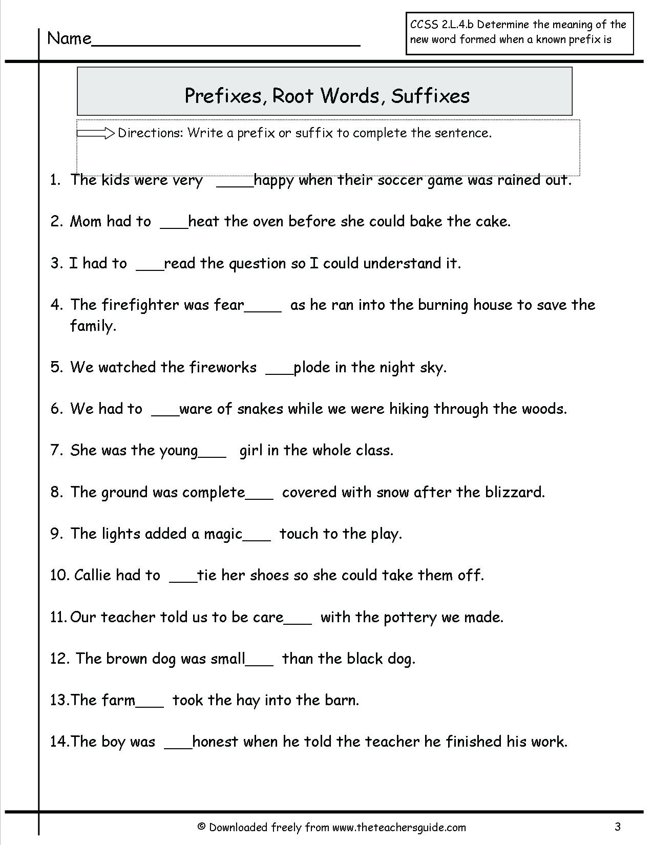 Prefixes Worksheets 3rd Grade 3rd Grade Prefixes and Suffixes Worksheets Root Words