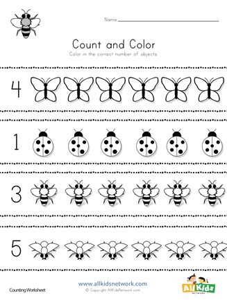 Preschool Bug Worksheets Bug Count and Color Worksheet