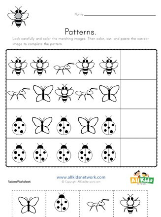 Preschool Bug Worksheets Bug Cut and Paste Patterns Worksheet
