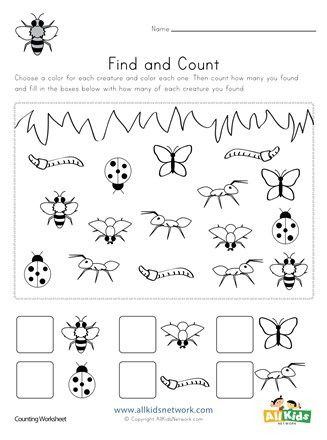Preschool Bug Worksheets Bug Find and Count Worksheets All Kids Network