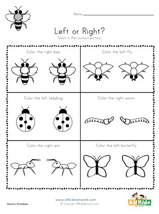 Preschool Bug Worksheets Bugs Left and Right Worksheet