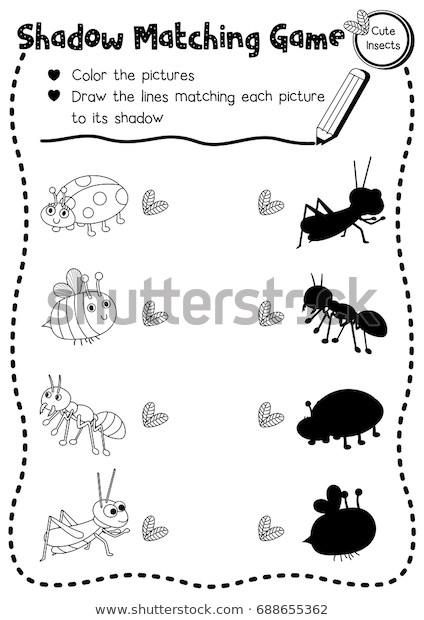 Preschool Bug Worksheets Shadow Matching Game Insect Bug Animals เวกเตอร์สต็อก ปลอด