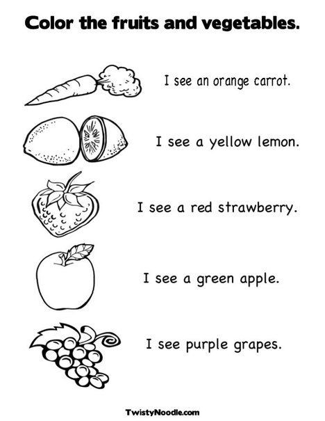 Preschool Fruits and Vegetables Worksheets Color the Fruits and Ve Ables Coloring Page and Worksheet