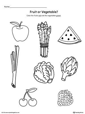 Preschool Fruits and Vegetables Worksheets Color the Fruits and Ve Ables