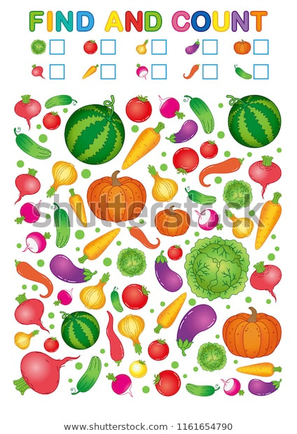 Preschool Fruits and Vegetables Worksheets Coloring Book Page Count Color Printable เวกเตอร์สต็อก ปลอด
