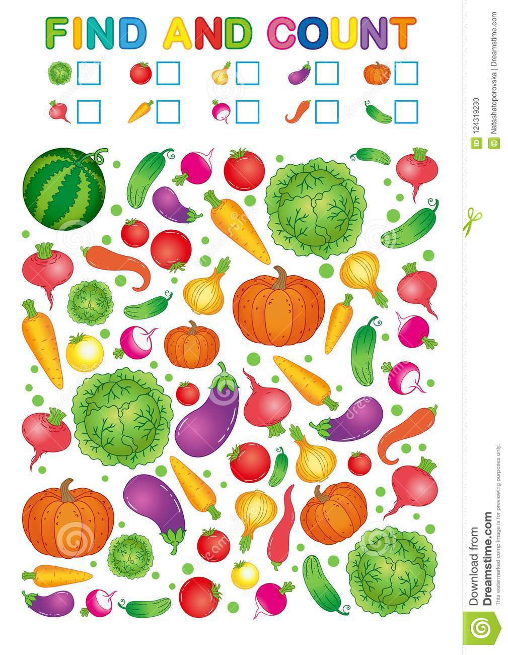 Preschool Fruits and Vegetables Worksheets Find and Count Printable Worksheet for Kindergarten and