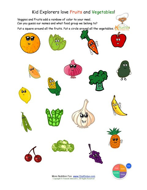 Preschool Fruits and Vegetables Worksheets Printable Identify the Fruits and Ve Ables Worksheet