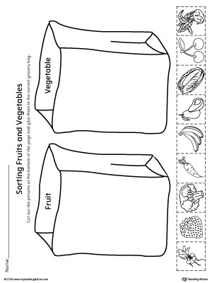 Preschool Fruits and Vegetables Worksheets sorting Fruits and Ve Ables In Grocery Bags