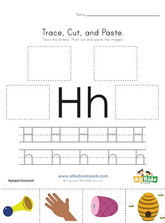 Preschool Letter H Worksheets Trace Cut and Paste Letter H Worksheet